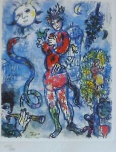 MARC CHAGALL FLUTIST 1985 SIGNED HAND NUMBERED 181/333 ETCHING SPADEM PARIS