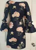 Womens Chi Chi London Dress size 8 blue flowers flared sleeve party occasion vgc