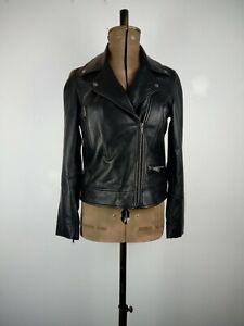 John Lewis Black Leather Jacket UK 10 P to P:45cms L:55cms RRP149