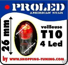 2x ampoule VEILLEUSE 4 LED Pro,W5W,T10,Rouge phare effet xenon 12v auto moto
