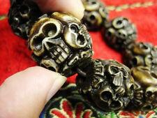 Cool Man's huge Skull head Bead Heavy tibet Bracelet 42g 20cm