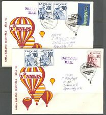 LATVIA 1992, HOT AIR BALLOONS FESTIVAL, lot of 2, SPECIAL CANCELLATIONS
