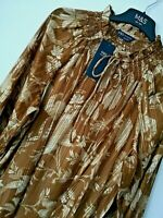 LADIES M&S SIZ 14 16 18 OR 20 BROWN GOLD SHIMMER BLOUSE TOP & CAMISOLE FREE POST
