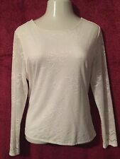 NWT MADISON STUDIO White Lace Blouse Shirt Top with Lining L/S  XL $54