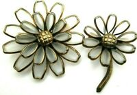 2 Piece Early Trifari Poured Glass Moonstone Flower Pin Pendants Alfred Philippe