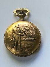 "48mm Pewter Gold Plated ""Fisherman"" Swiss 17 Jewel Pocket Watch - Model 8024w"