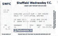 BIGLIETTO CALCIO > Sheffield Wednesday V Hartlepool United ago 2003 Carling Cup