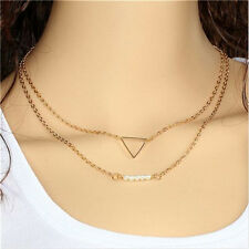 Multi Layer Chain Necklace Gold Triangle and Pearl Pendant Necklace