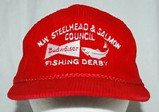 Budweiser NW Steelhead Salmon Council Fishing Derby Vintage Hat Cap Cordaroy Red