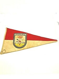 VINTAGE Olympia 1951-51 Red and White Track?? Olympics Pennant Helsinki Oslo