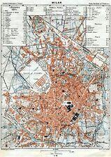Pianta di Milano. Carta Topografica,Geografica.Stampa Antica + Passepartout.1886