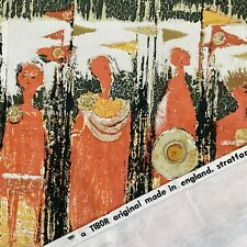 More details for mid century tibor reich age of kings shakespeare fabric curtain panel