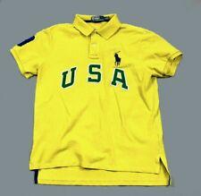Polo Ralph Lauren Yellow USA Embroidered Shirt Pique Cotton Big Pony Men's L