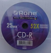 25 x Aone CDR CD-R Blank Full Face Printable FF 700mb 80mins 52x Discs CDS