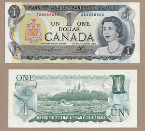 1973 $1 Bank of Canada Note SOLID RADAR AA6666666  - UNC