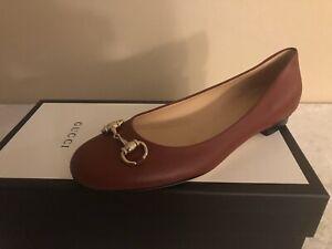 New In Box Gucci Burgundy Leather Silver Horsebit Flat Size 38.5EU/8.5US $595.00