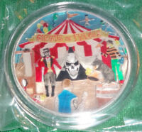CIRCUS OF FREAKS Prooflike Enameled 1oz Silver Round Barrely Living Art