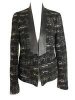 Zara Tweed Tailored Blazer Jacket Black Monochrome Smart Work Office Small 8 10