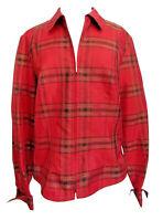 Coldwater Creek Red  Plaid Zip Up Jacket Medium Lightweight  Silk Blend