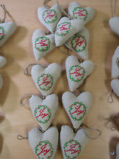 X11 John Lewis Rustic Hessian Heart Joy Baubles Christmas Tree Decorations KC1