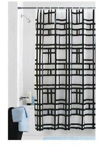 "Mainstays Elements PEVA Geometric ""Black/Frosty"" Shower Curtain / Liner 70x72"
