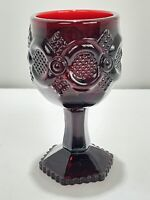 "Vintage Avon 1876 Cape Cod Heavy Ruby Red Glass Wine Goblets 4 1/2"" Replacement"