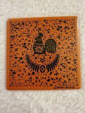Vintage 1950'S Signed  Georges Briard Enamel Tile Mid-Century NOS Rooster Orang