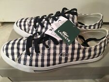 New In Box Authentic Lacoste Gingham Navy White Plaid Sneakers Women Size 7 Cute
