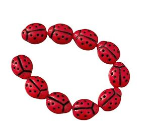 21 Preciosa Czech Glass Opaque Red Black Two Sided 9x7mm Ladybug Insect Beads