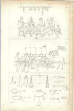 Stampa antica POMPEI Scene di vita quotidiana Napoli 1834 Old print Engraving