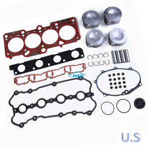 Piston Ring & Engine Gaske Overhaul Kit Rebuild Kit For AUDI A4 A6