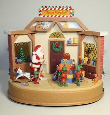 Christmas Animated Carousel Workshop Music Lights Elves Batteries Retired NOS