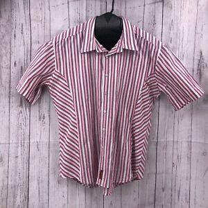 Tommy Hilfiger Denim Mens Shirt Size XXL Pink Stripe Short Sleeve Red Label