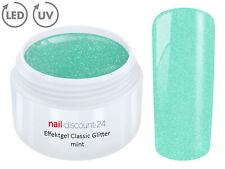 UV LED GEL GLITTER MINT Glitzer Farbgel Effekt Color Nail Art Mogellage Grün Tip