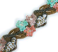 """70"""" Hand-Beaded Coral Reef Trim Sea Green Flowers 1.5"""" Wide Sequins Bullion DYI"""