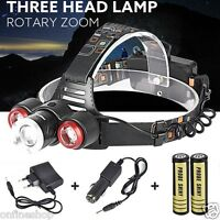 Headlamp 8500Lm XML T6+2R5 3 LED Head Light Torch+Car/USB Charger+18650 Battery
