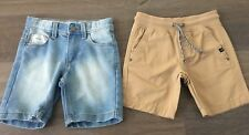2x Boys Size 4 TARGET Casual Shorts *NEW* Denim & Brown Cotton *BNWOT*