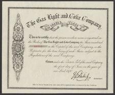 GAS, luce e coke Co., £ 10 Classe a condividere, 1870, stampato da waterlow