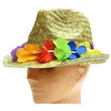 Adults Unisex Gangster Straw Hat W/Flower Band Hawaiian Hula Party Headwear Hat