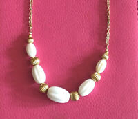 Vintage Avon Fluted Bead Necklace Oval White Beads & Round Gold Tone Bead Spacer