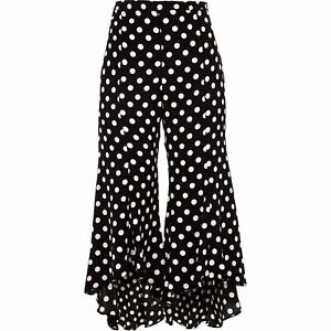 River Island Polka Dot Smart Flare Tailored Trousers Dressy Holiday RRP £38