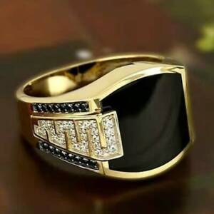 Mens Two Tone 18k Yellow Gold Plated Enamel Ring Party Jewelry Gift Size 7-13