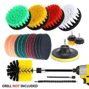 21Pcs Multi-Purpose Drill Brush Attachment Kit Carpet Tile Cleaning Scrub Tool