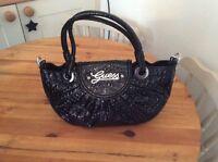 Black Guess Patent Handbag New