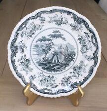 "Antique Dark Green Blue ""Chinese Marine"" Opaque China Dinner Plate"