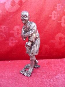 Très vieux Figurine Metal __Chinese__ Argenté (Argent ?)__ Buddistischer Moine
