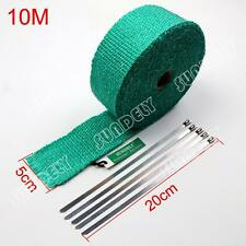 Green Exhaust Header Heat Pipe Wrap Tape Turbo 10m x 50mm + 5 Ties Motorcycle