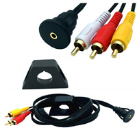 3.5mm audio Female to 3 RCA Male Flush Mount Socket for car boat Motorcycle