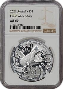 2021 AUSTRALIA SILVER S$1 GREAT WHITE SHARK MS 69 HIGH GRADE