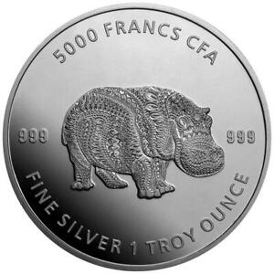 Tschad 5.000 Francs 2020 - Mandala Hippo - Premium-Anlagemünze - 1 Oz Silber ST